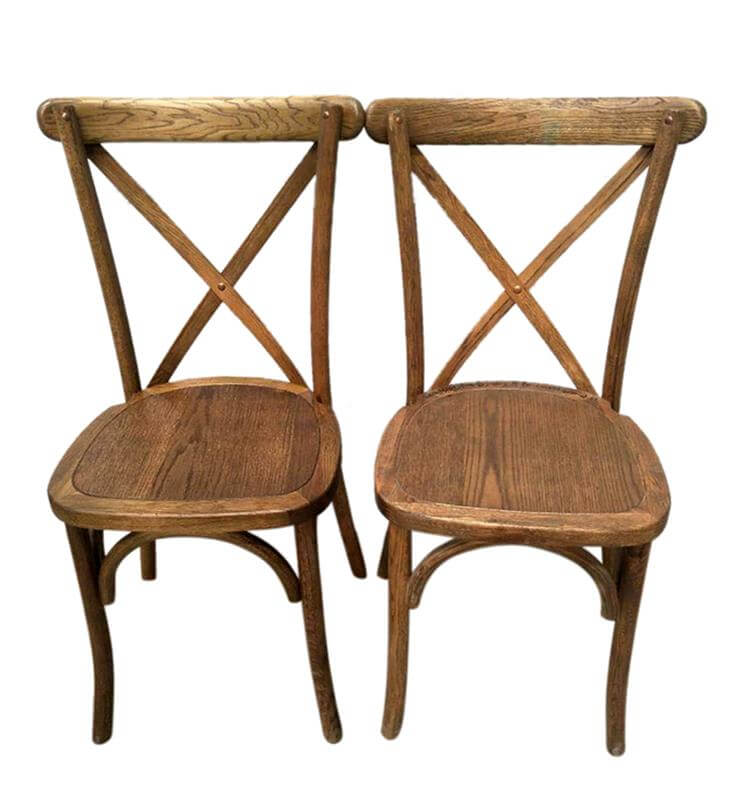 Stain color of wooden cross back chairs