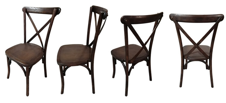 brown cross back dining chairs