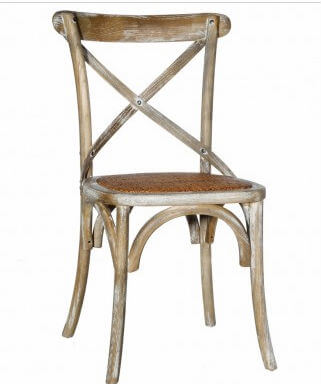 cross back dining chair rattan seat