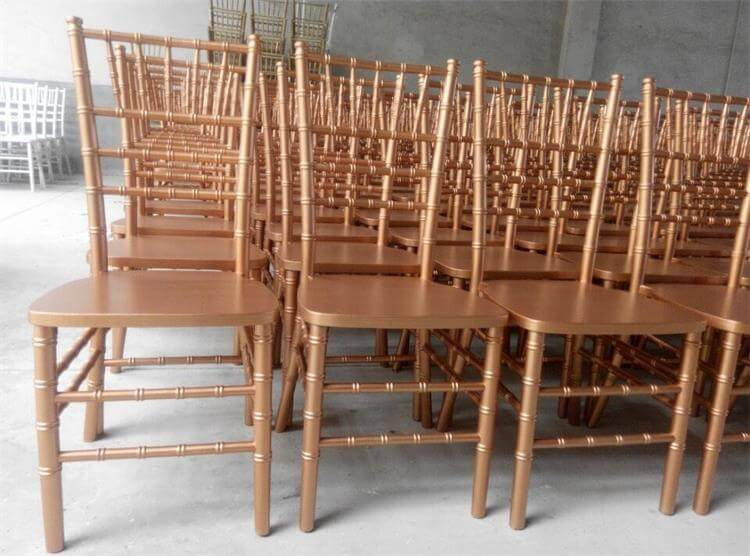 Rose gold wood Chiavari chairs