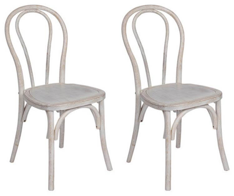 white washed bentwood chairs