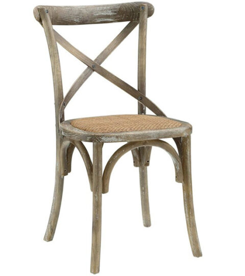 Wooden Crossback Chairs With Rattan Seat
