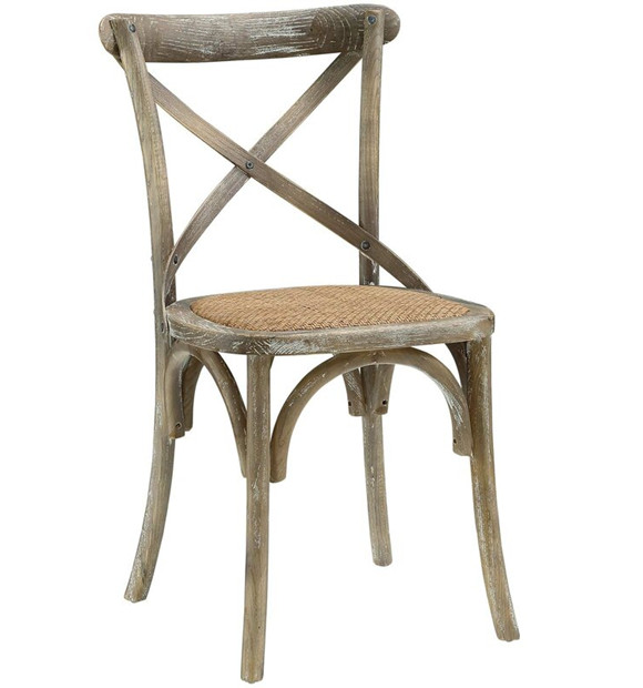 wooden crossback chair with rattan seat