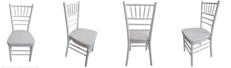 wooden white chiavari chair with white cushion