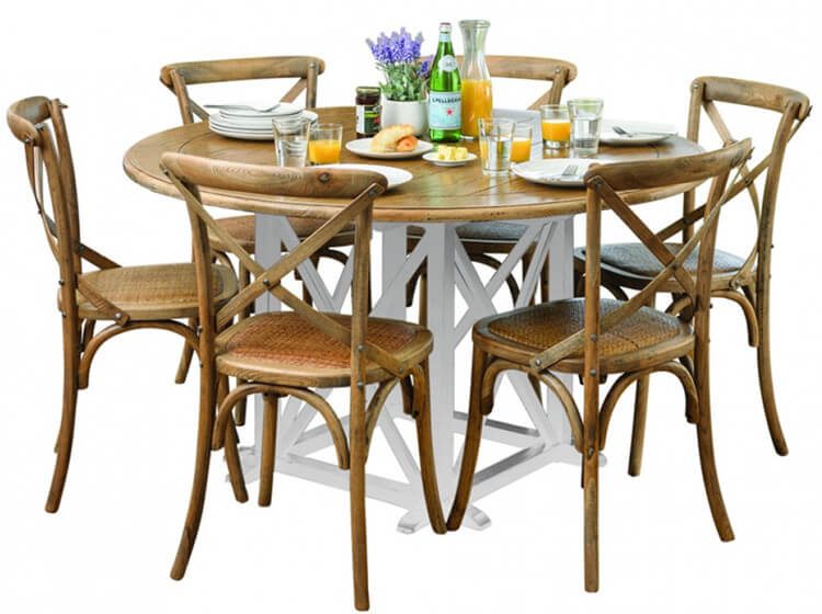 rattan seat wood crossback chairs
