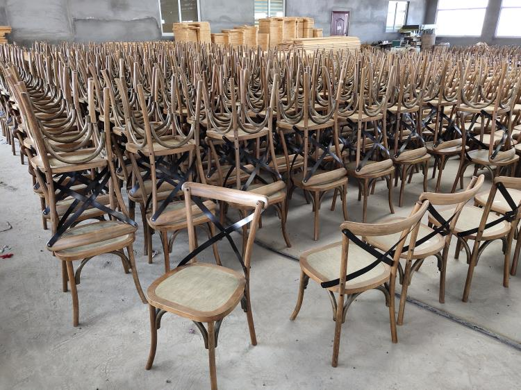 Wood And Metal X Back Chairs