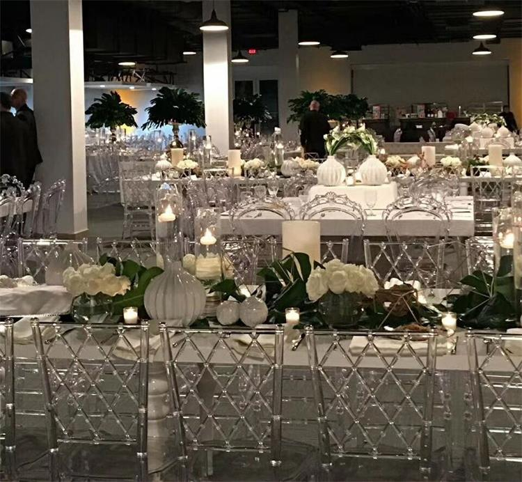Clear chiavari chairs using ballroom