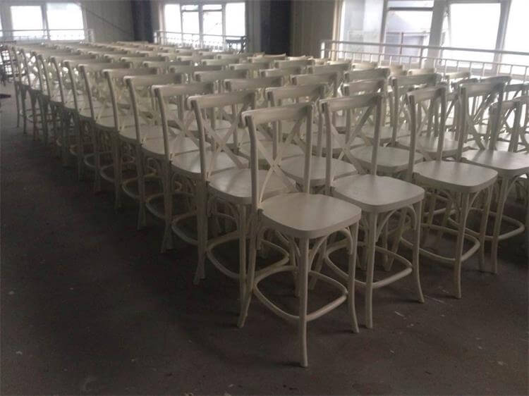 white barstools cross back wood