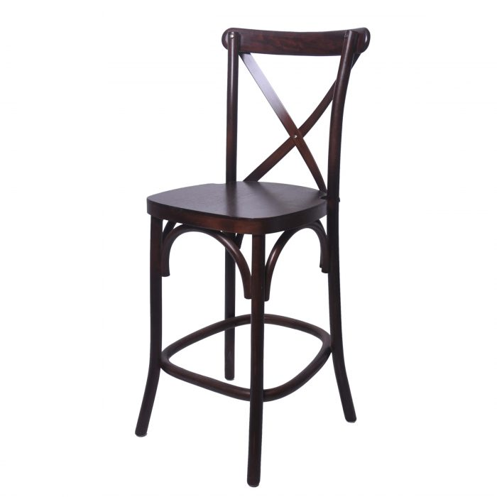 Wooden cross back chair bar stool