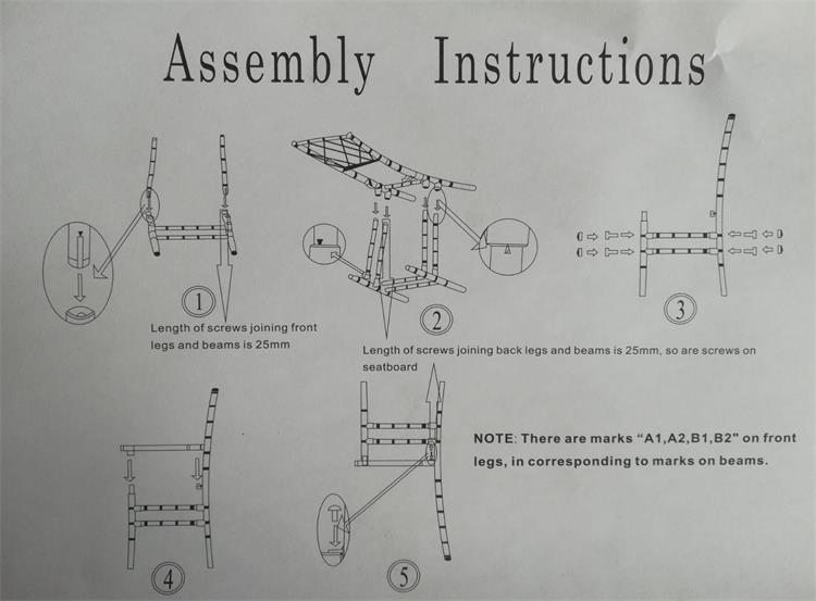 assembly instructions of resin diamond chairs
