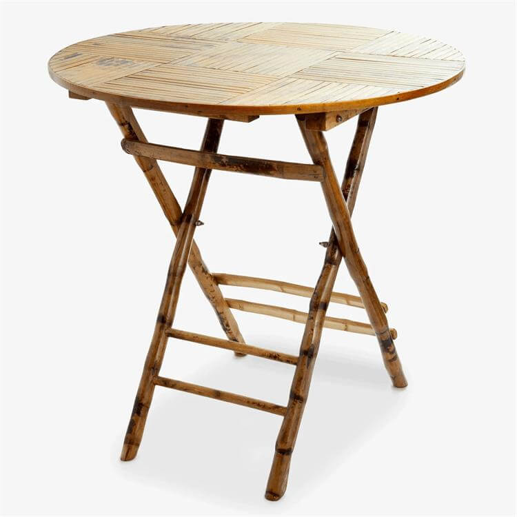 Round bamboo folding table
