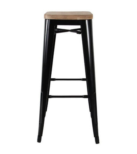 Tolix Bar Stool Wood Seat