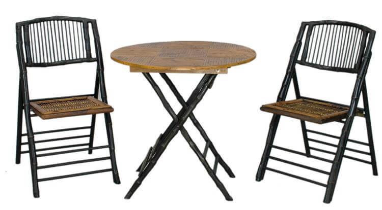 black bamboo folding table and chairs set