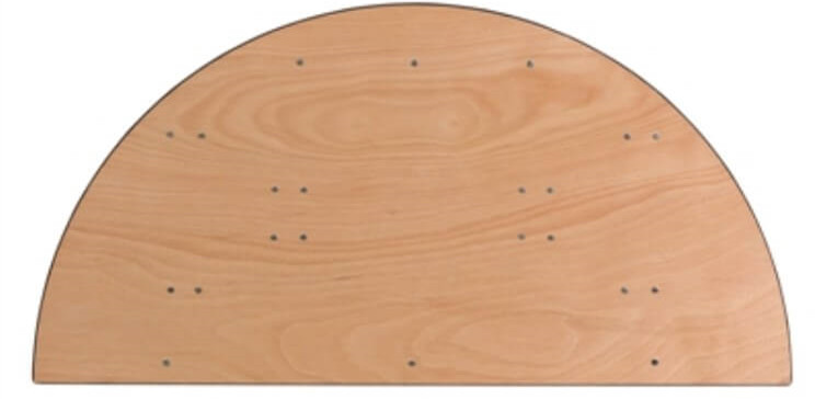 plywood half-round table