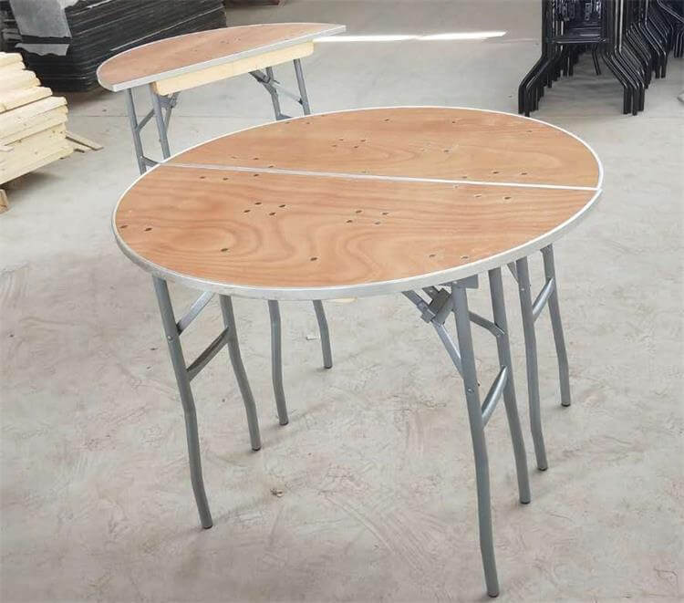 half round tables aluminum edge