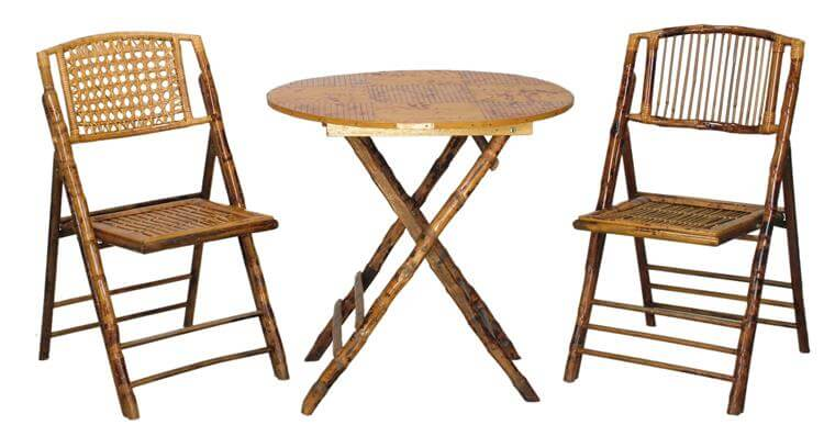 natural bamboo folding table and chairs set