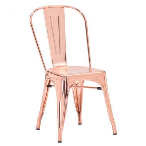 red rose gold tolix chair