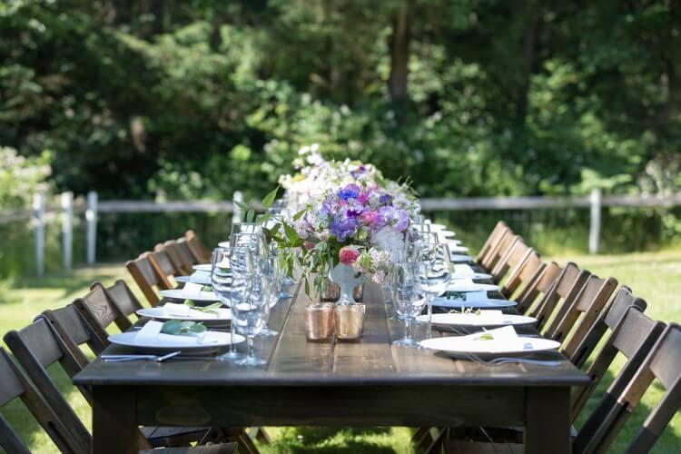 folding chairs and farm tables