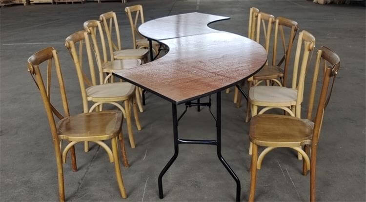 table and cross back chairs