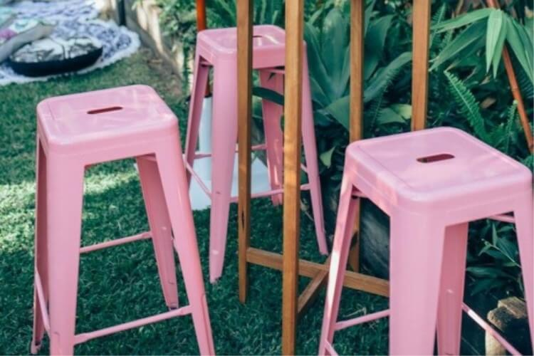 tolix chair barstool pink