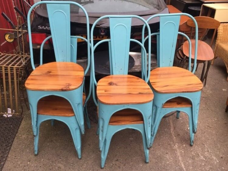 Stackable antique Tolix Chairs