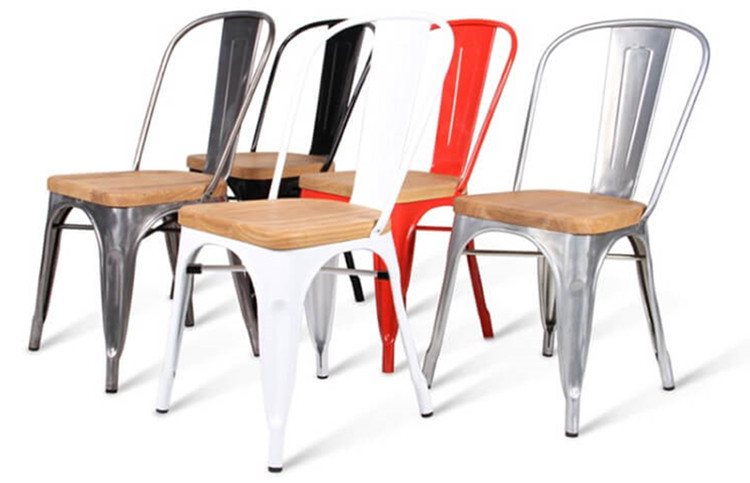 Colorful tolix chair with solid wood seat