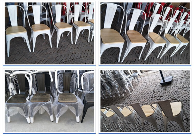 tolix chairs with solid wood seat