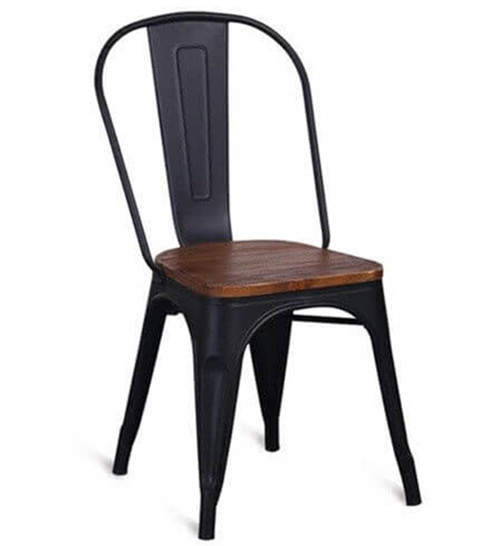 tolix chair with solid wood seat