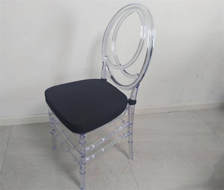 Clear Phoenix Chair with Black Cushion
