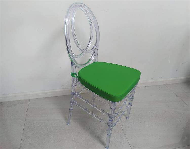 Clear Phoenix Chair with Green Cushion