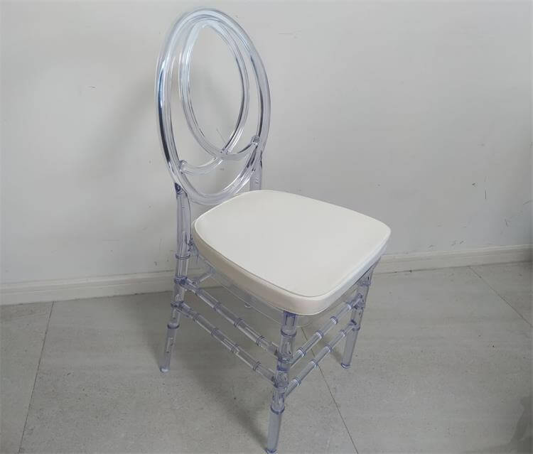 Clear Phoenix Chair with white Cushion