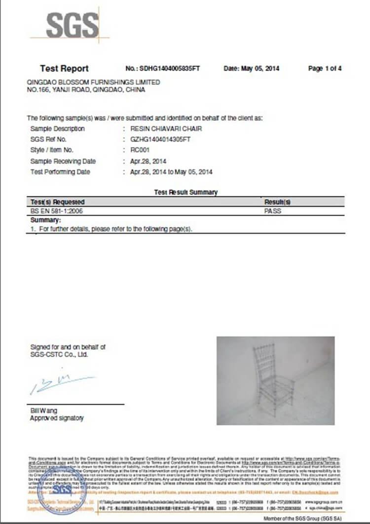 Clear resin chiavari chair test report
