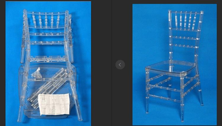 Clear resin chiavari chair assemble
