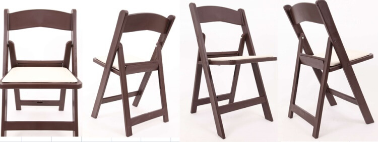 Mahogany resin folding chairs with white pads