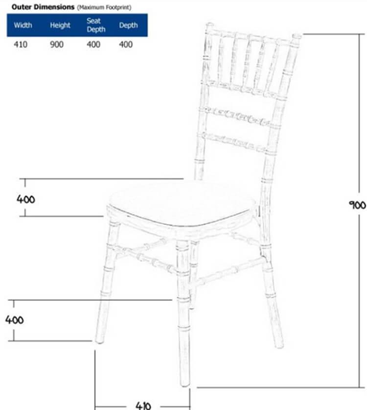 limewash chiavari chairs size