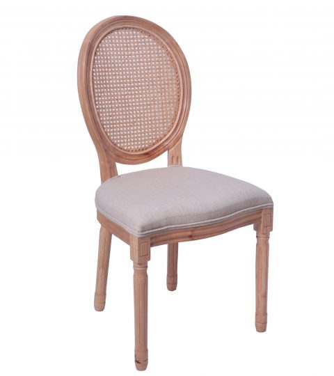 Wooden Louis Chair Rattan Back And Fabric Seat
