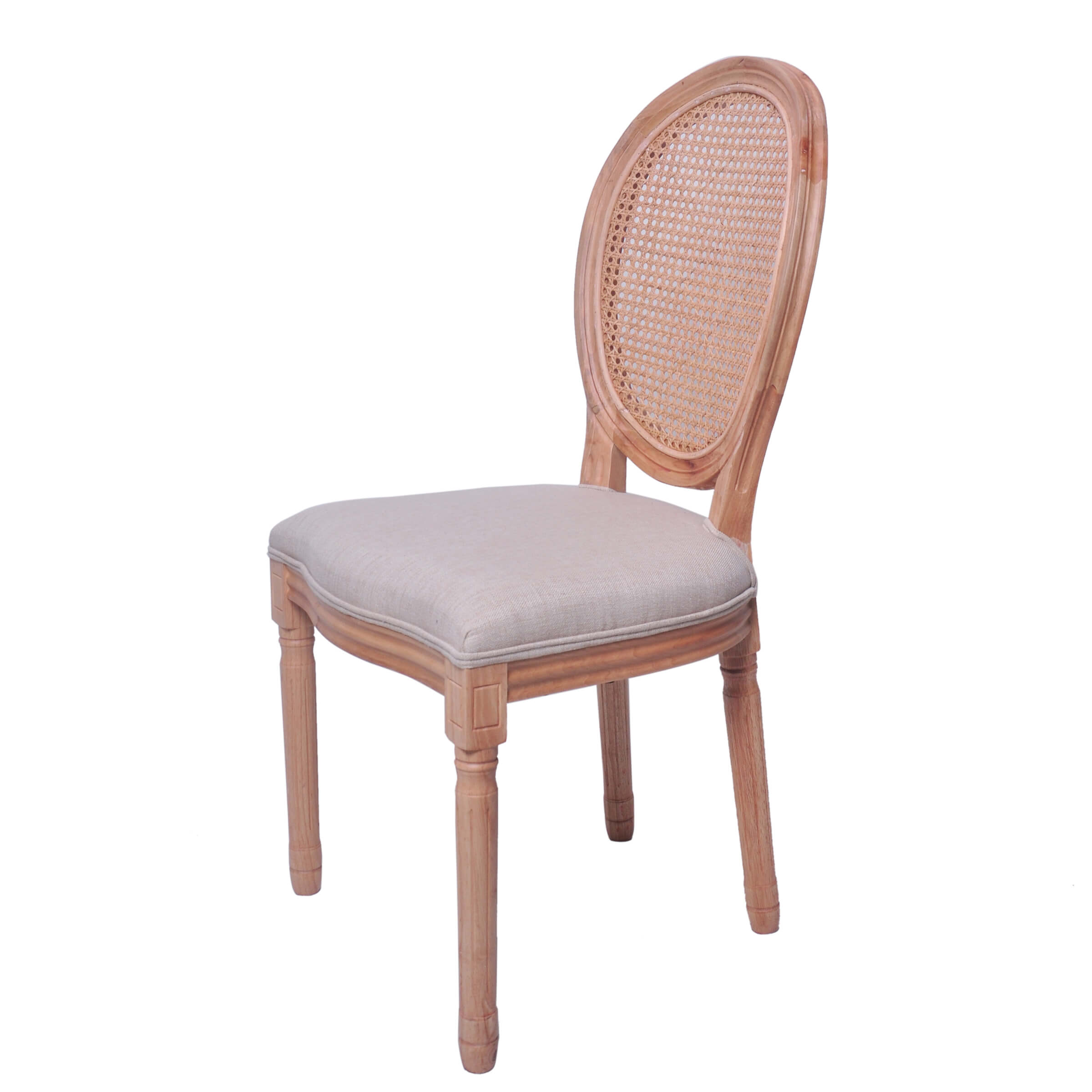 natural wooden louis chairs with rattan back