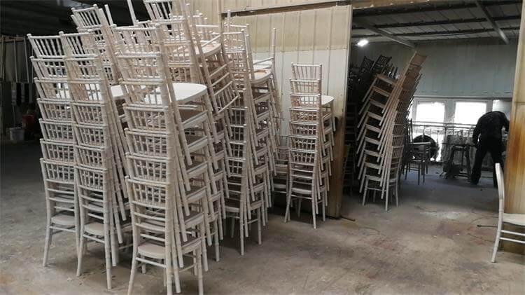 sanding work for limewash chiavari chairs