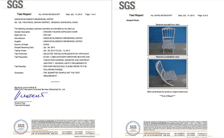 napoleon chairs test report