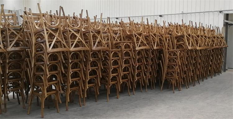 natural color oak x back chairs bulk