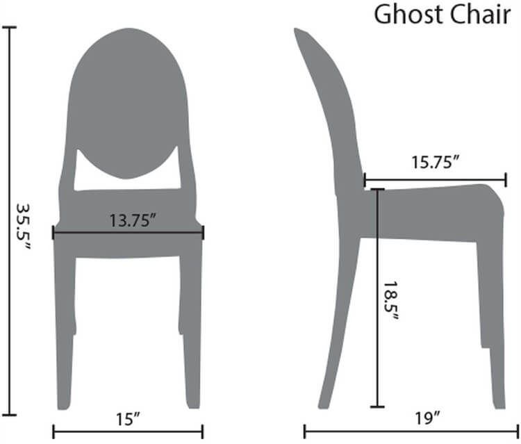 resin victoria ghost chairs size