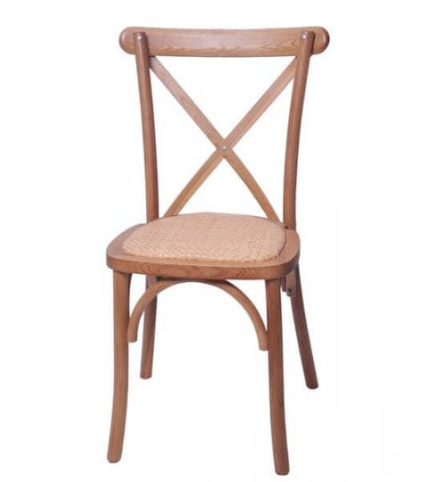 Oak Crossback Chair With Rattan Seat