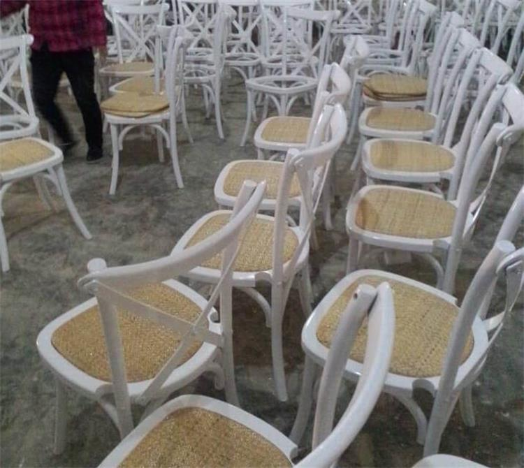 white cross back chairs with rattan seats