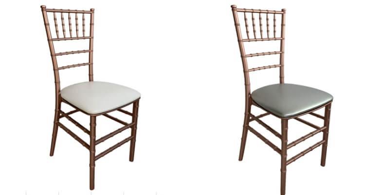 rose god chiavari chairs with white pads