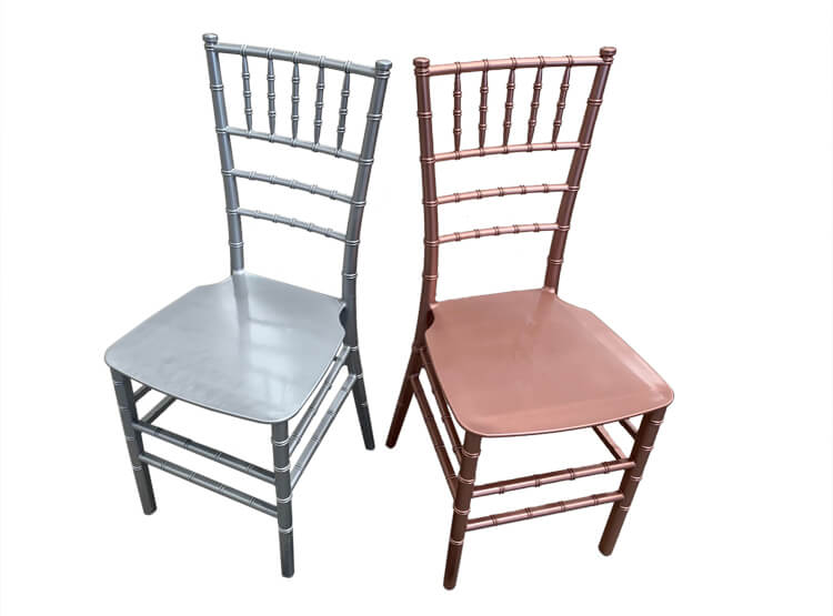 silver and rose gold chairs