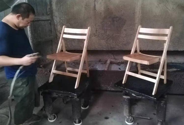 wooden slat folding chair