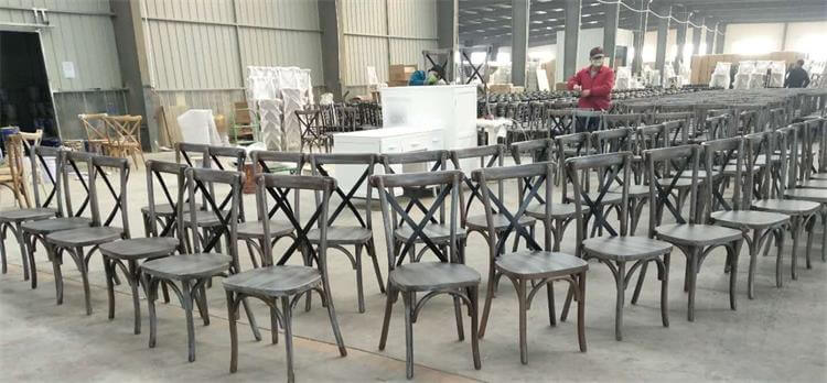Cross Back Chairs With Metal Parts