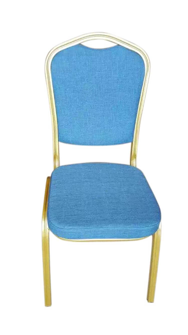 banquet chairs with blue cloth