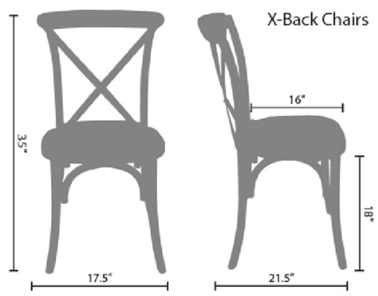 size of crossback chairs
