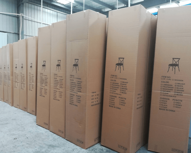 Carton of crossback chairs